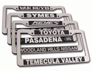 CHROME FACE ABS PLASTIC LICENSE PLATE FRAMES, promotional license plate frames, on car advertising