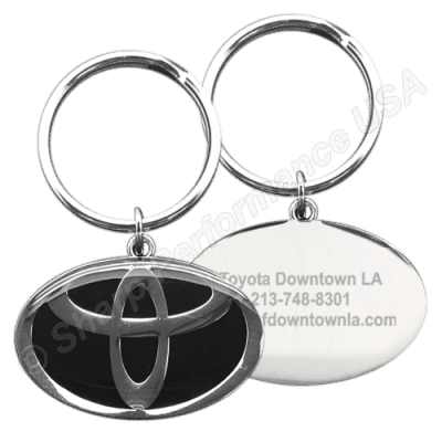K001TO Custom Keychain with 3D company logo on front side, and laser engraved info on the backside