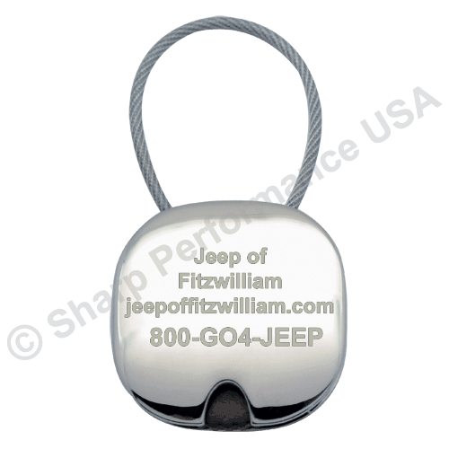 K0037 – Cable Slider Metal & plastic Keytag w/ Nickel Finish
