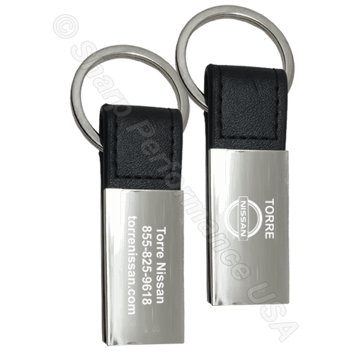 K0204 – Custom Leatherette & Metal Keychain Zinc w/ Shiny Nickel Finish