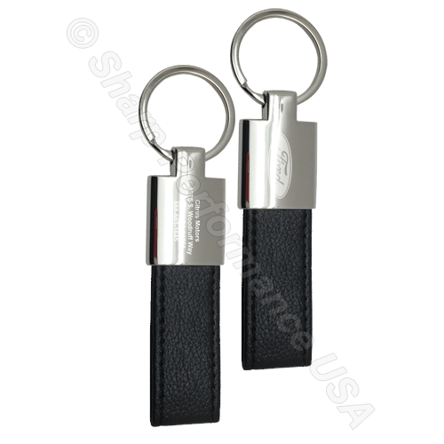 K0205, Custom engraved leather keychain, Sharp Promotional Key Chains
