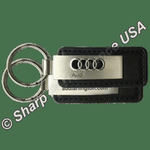 Premium Leather & Metal Rectangle Key Chains, Audi Dealer promotions, custom leather key fob