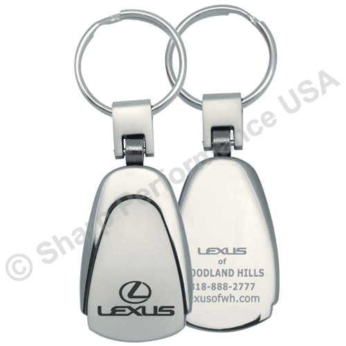 K6623 -Superior Teardrop metal Key Tag w/ Two-Tone Shiny & Pearl Nickel Finish