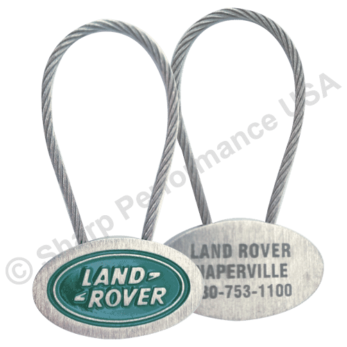 K704 – Custom Oval Cable Metal Key tag w/ Brushed Nickel Finish