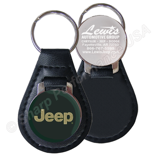 Premium Leather & Metal teardrop key Fob w/ Shiny Nickel Finish