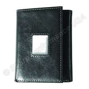 Recessed leatherette tri fold wallet