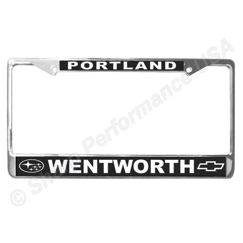 Metal License Plate Frames, white text, Custom Stainless Steel metal License Plate Frame, custom metal license plate frames, promotional license plate frames, car dealer license plate frames