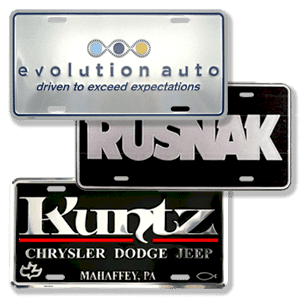 Auto Dealer License Plates and Inserts  Dealer Advertising Items for before the sale and after