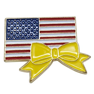 US Flag with Yellow Ribbon Soft Enamel Lapel Pin