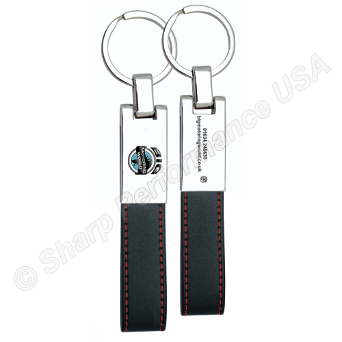 K0021, Premium Leather & Metal Keychain with Contrast Stitching, Custom leather key tags, leather key fobs, leather keychains, custom keychains, custom keychains wholesale