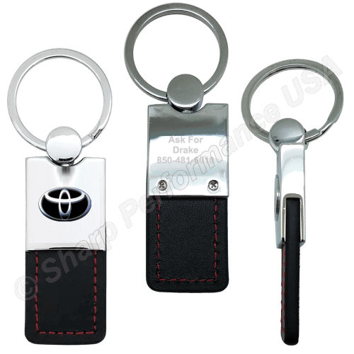 K0206 - Leatherette & Metal Keychain with Contrast Stitching ~ Also available in Leather Material
